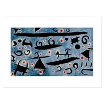 """Art Print """"Danse de personnages et d'oiseaux sur un ciel bleu: étincelles"""""""