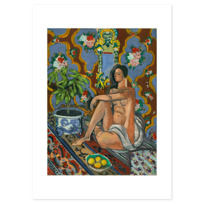 "Art Print ""Figure décorative sur fond ornemental"""