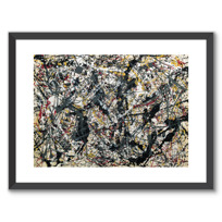 "Framed Art Print ""Painting (Silver over Black, White, Yellow and Red)"""