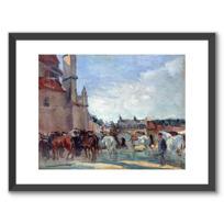 """Affiche Encadrée """"Le Marché aux chevaux à Falaise"""""""