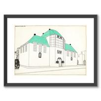 """Framed Art Print """"Projet pour une cité moderne: banque-caisse d'épargne"""""""