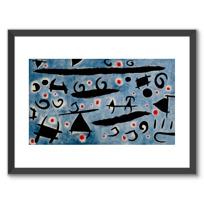 """Framed Art Print """"Danse de personnages et d'oiseaux sur un ciel bleu: étincelles"""""""