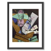 """Framed Art Print """"Verre et journal"""""""