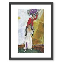 """Framed Art Print """"Double portrait au verre de vin"""""""