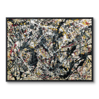 "Framed Canvas ""Painting (Silver over Black, White, Yellow and Red)"""