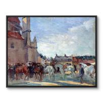 """Framed Canvas """"Le Marché aux chevaux à Falaise"""""""