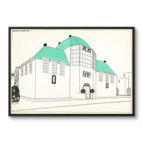 """Framed Canvas """"Projet pour une cité moderne: banque-caisse d'épargne"""""""