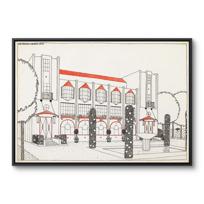 """Framed Canvas """"Une cité moderne: hôtel de voyageurs"""""""