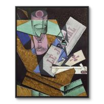 "Framed Canvas ""Verre et journal"""