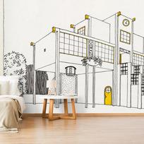 """Removable wallpaper """"Une cité moderne: école primaire, garçons et filles"""""""