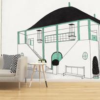 """Removable wallpaper """"Projet pour une cité moderne: pavillon des sports"""""""
