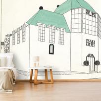 """Removable wallpaper """"Projet pour une cité moderne: banque-caisse d'épargne"""""""